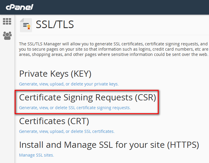 ساخت کد CSR در محیط cPanel
