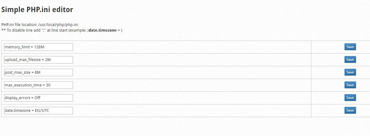 ویرایش تنظیمات php در کنترل پنل Centos Web Panel